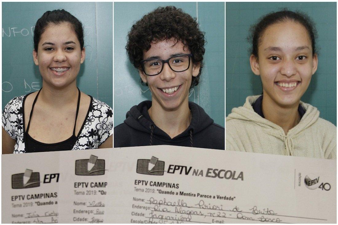 Alunos Julia, Matheus e Raphaela tiveram suas redações selecionadas no concurso
