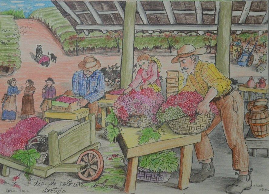 Desenho feito pela artista Leontina mostra o dia da colheita da uva
