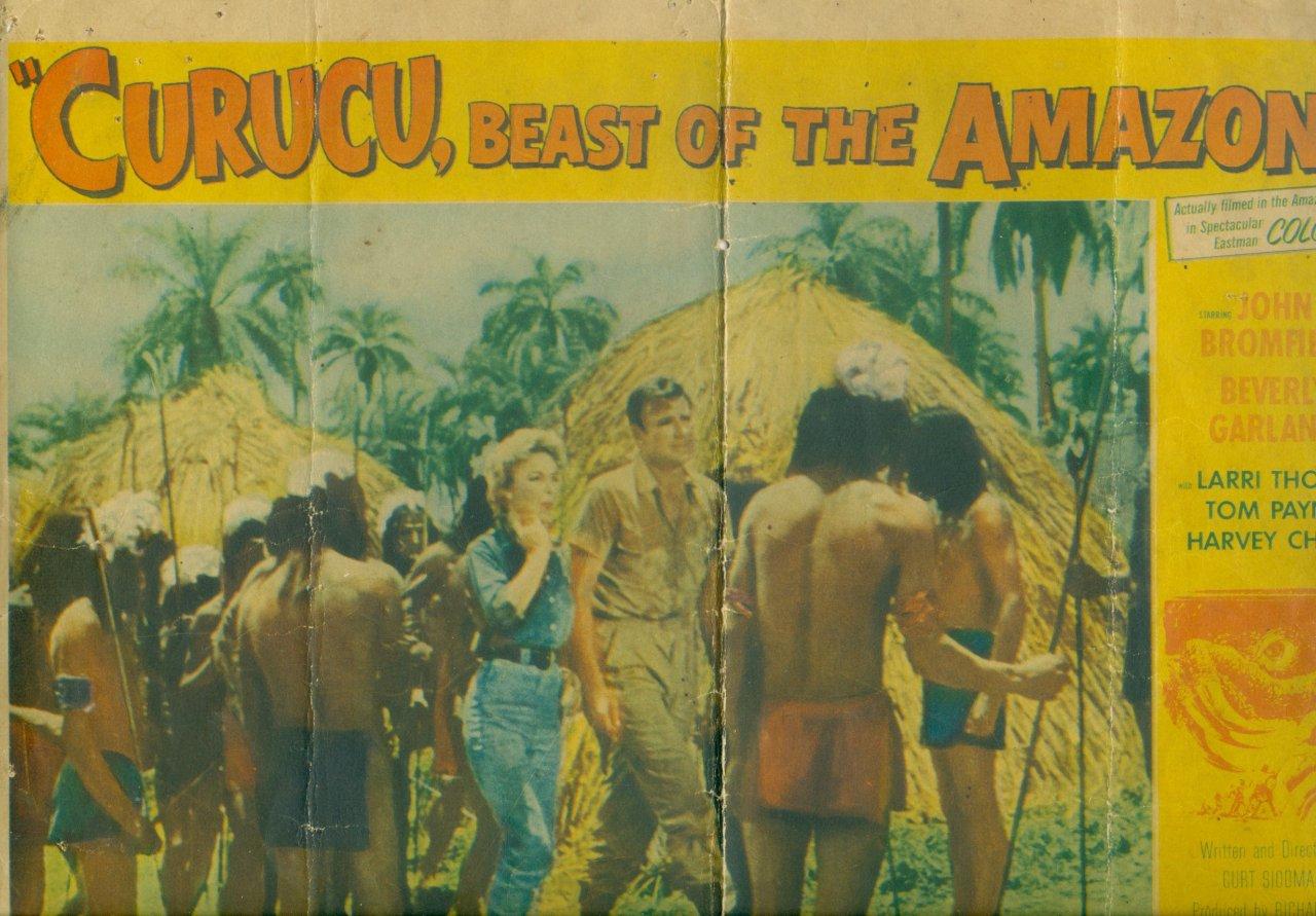 Cartaz do filme norte-americano gravado na década de 50. Geraldo aparece de costas segurando a lança