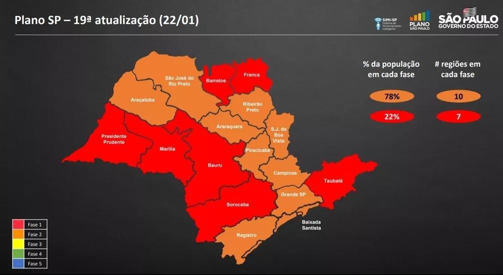 Mapa mostra como a situação das regiões do estado