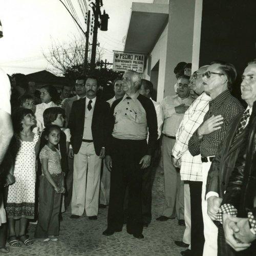 Momento de civismo quando é executado o Hino Nacional durante a inauguração (Acervo pessoal)